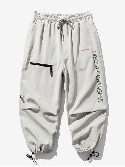 Pantalones Trotar Cintura Elástica Estampado Letra - Gris Claro M Mobile