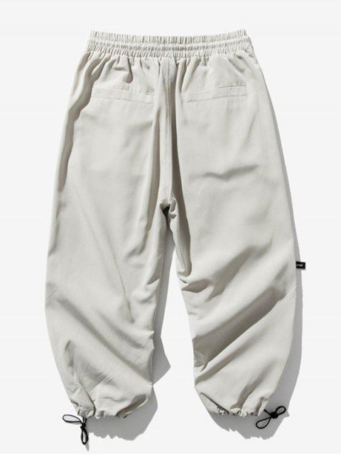 Pantalones Trotar Cintura Elástica Estampado Letra - Gris Claro XL Mobile