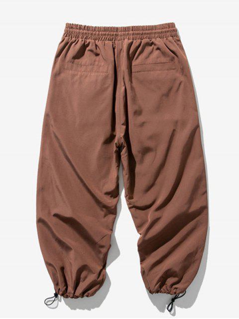 Pantalones Trotar Cintura Elástica Estampado Letra - Marrón Oscuro 4XL Mobile