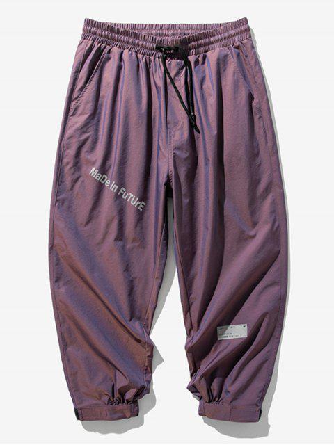 Pantalones Jogger Cintura Elástica Estampado Letras - Púrpura L Mobile