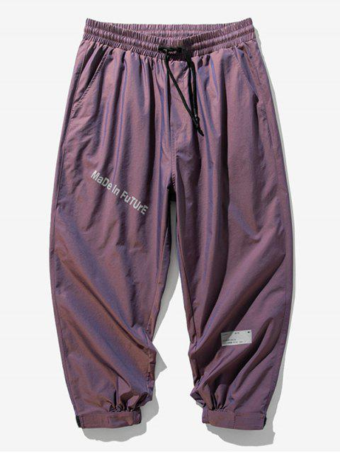Pantalones Jogger Cintura Elástica Estampado Letras - Púrpura 3XL Mobile