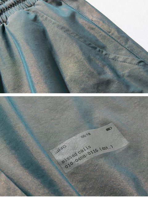 Pantalones Jogger Cintura Elástica Estampado Letras - Cian claro 3XL Mobile