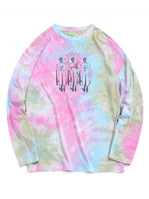 Figure Print Tie Dye Drop Shoulder T-shirt - متعدد 2XL Mobile