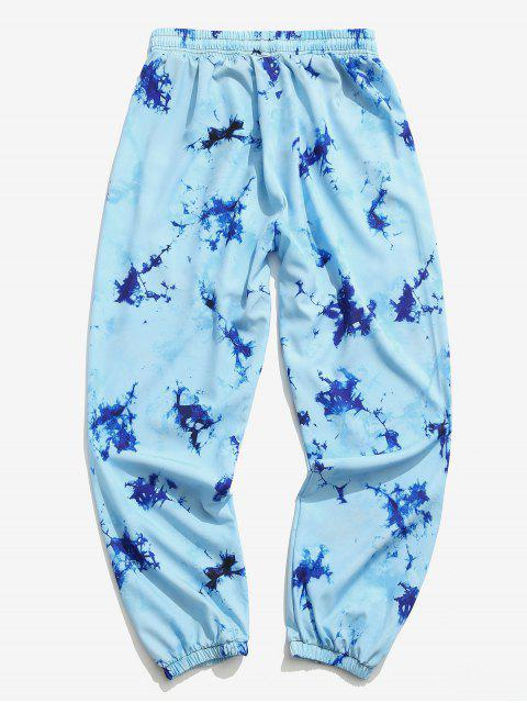 women's Tie Dye Print Elastic Waist Jogger Pants - SEA BLUE 3XL Mobile