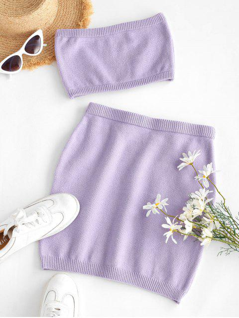 chic ZAFUL Two Piece Knitted Bandeau Top And Skirt Set - PURPLE S Mobile