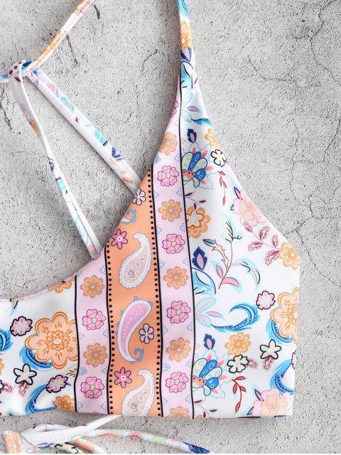 shops ZAFUL Bohemian Flower Paisley Strappy Bikini Top - LIGHT ORANGE S Mobile