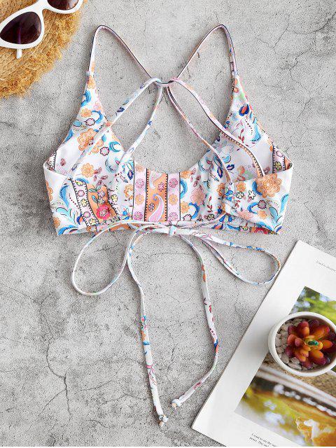 Bikini de Encaje con Flor de Paisley ZAFUL - luz naranja M Mobile