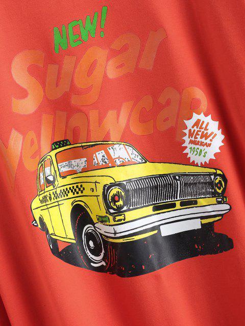 Sweat-shirt Lettre et Voiture Imprimées à Goutte Epaule - Rouge L Mobile