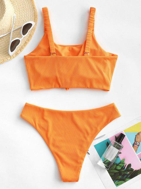 ZAFUL Verknotetes Hochdrückende Tankini Badebekleidung mit Kette - Dunkles Orange S Mobile
