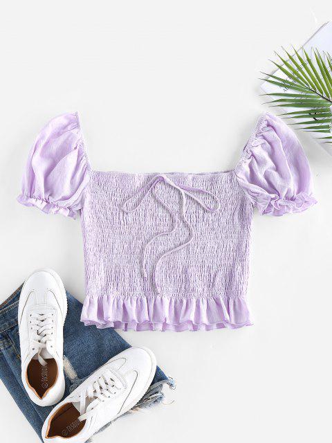 women ZAFUL Smocked Bowknot Puff Sleeve Ruffle Blouse - LIGHT PURPLE M Mobile