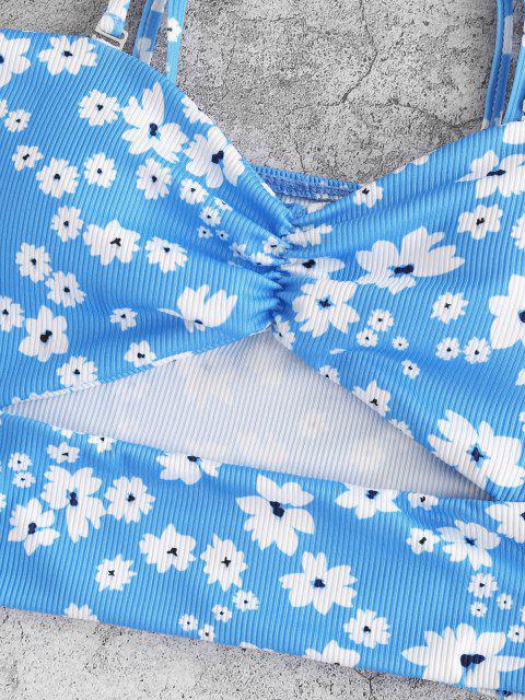 ZAFUL Maillot de Bain Tankini Bandeau Découpé Côtelé Fleuri - Bleu clair S Mobile