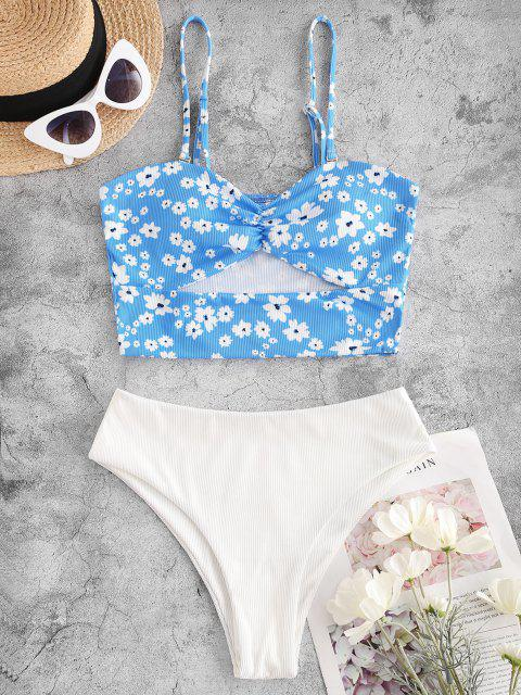 ladies ZAFUL Ribbed Floral Underboob Bandeau Tankini Swimwear - LIGHT BLUE M Mobile