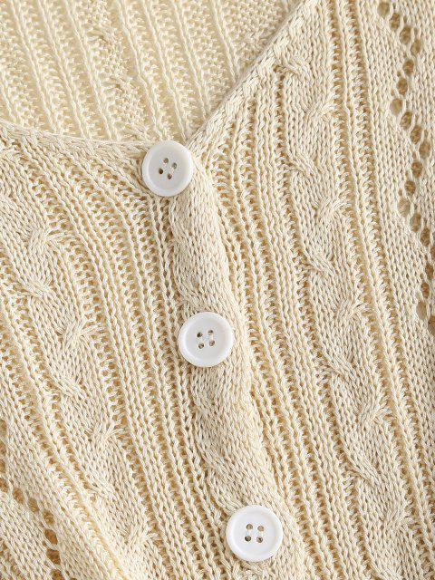 new Openwork Button Up Crop Cardigan - LIGHT YELLOW ONE SIZE Mobile
