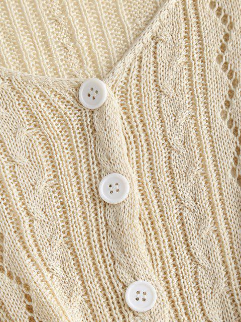 Knopf Durchbrochene Crop Strickjacke - Hellgelb Eine Größe Mobile