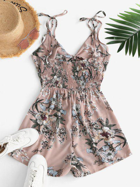 women's Flower Print Tie Strap Smocked Cutout Cami Romper - LIGHT PINK S Mobile
