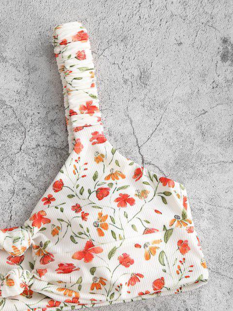 women's ZAFUL Flower Ribbed Knotted Keyhole Bikini Swimwear - WHITE M Mobile