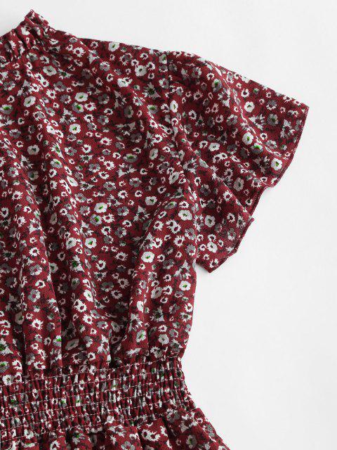Robe Fleurie à Manches Bouffantes à Col Volanté - Rouge Foncé L Mobile