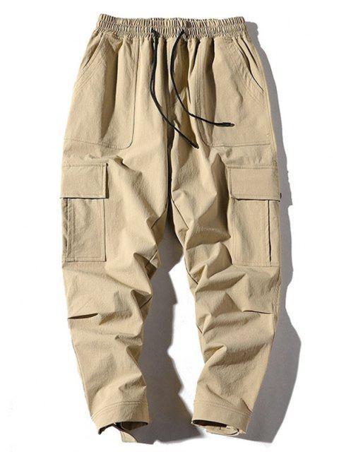Pantalones de Carga con Aplicación de Bolsillos Laterales - Caqui S Mobile