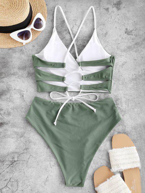 ZAFUL Seite Boning Tankini Badebekleidung mit Schnürung - Hellgrün M Mobile