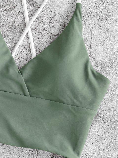 shop ZAFUL Side Boning Crisscross Lace Up Tankini Swimwear - LIGHT GREEN XL Mobile