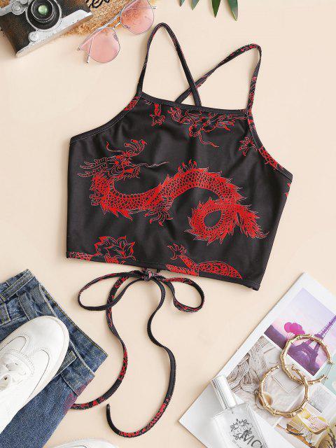 ZAFUL Camisole Courte DragonOrientalImprimé à Lacets - Rouge M Mobile