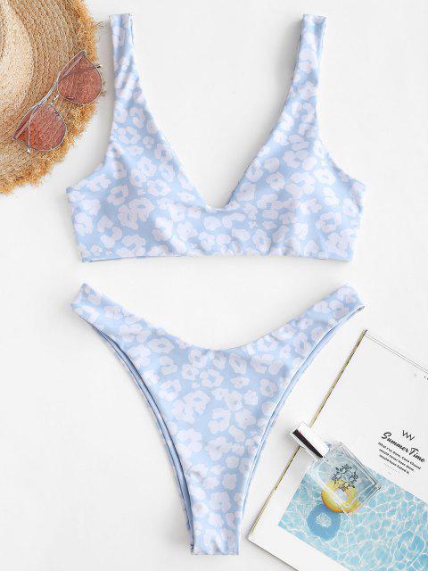 Costume da Bagno Bikini Stampato Leopardo e Cuore di San Valentino a Taglio Alto - Azzurro S Mobile
