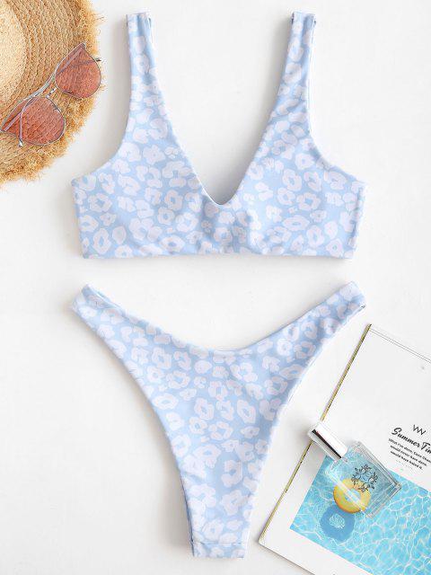 ZAFUL Bikini Reversible de Corazón de Serpiente de Corte Alto - Azul claro M Mobile