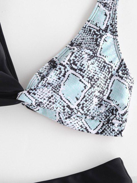 online ZAFUL Snake Print Colorblock Twist High Leg Bikini Swimwear - BLACK S Mobile