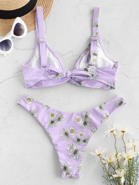 hot ZAFUL Daisy Print Twist High Cut Bikini Swimwear - LIGHT PURPLE M Mobile