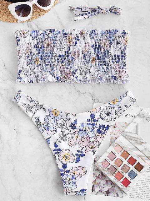 sale ZAFUL Floral High Cut Bandeau Smocked Bikini Swimwear - WHITE S Mobile