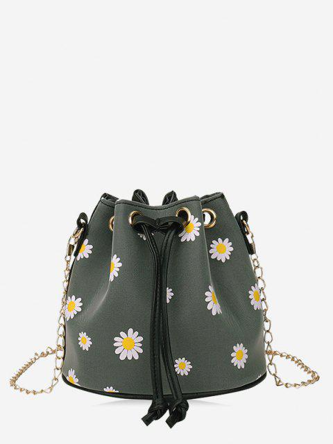 new Daisy Print Drawstring Chain Bucket Bag - DARK GRAY  Mobile