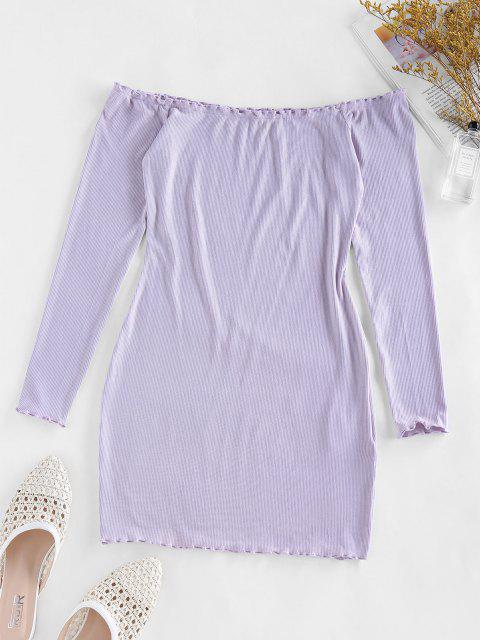 affordable ZAFUL Off Shoulder Lettuce Trim Ribbed Bodycon Dress - WISTERIA PURPLE M Mobile