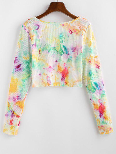 shops ZAFUL Tie Dye Ribbed Twisted Plunging Knitwear - YELLOW M Mobile