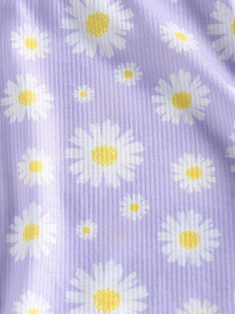 unique ZAFUL Ribbed Daisy Print Cinched T-shirt - MAUVE S Mobile