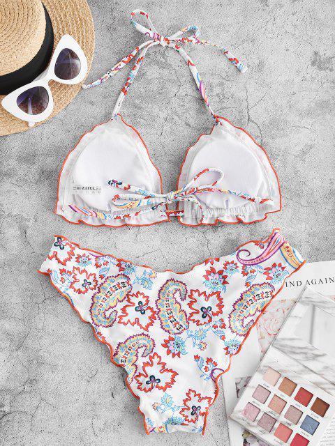 Costume da Bagno Bikini Stampato a Piante con Volant di ZAFUL - Bianca S Mobile