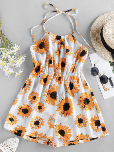 ZAFUL Sunflower Print Halter Romper - White S