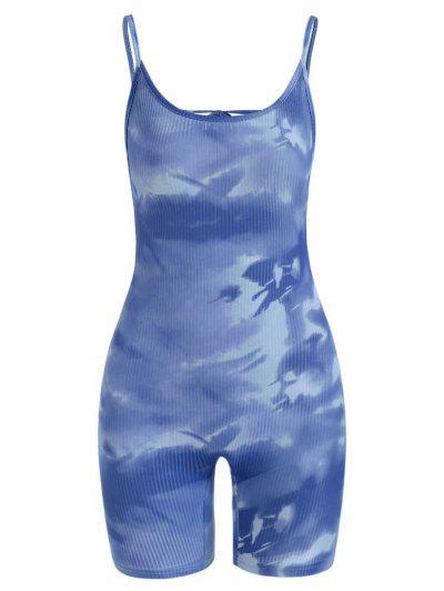 Tie Dye Ribbed Backless Biker Romper - Blue M