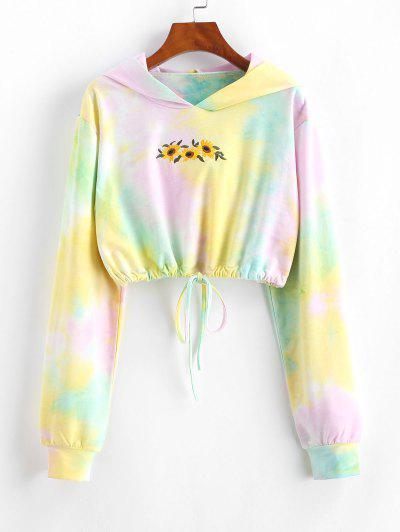 Tie Dye Sunflower Embroidered Copped Hoodie - Multi M