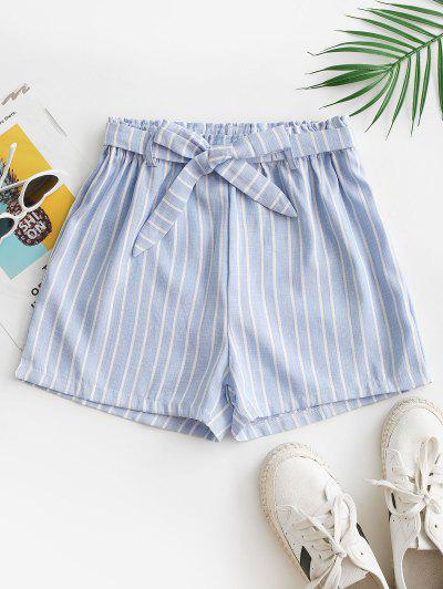 High Waisted Belted Stripes Wide Leg Shorts - Light Blue S