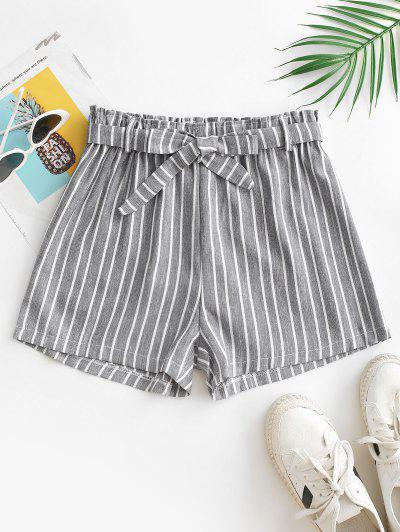 High Waisted Belted Stripes Wide Leg Shorts - Gray M