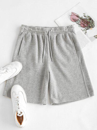 Drawstring Seam Pockets Ribbed Bermuda Shorts - Light Gray M