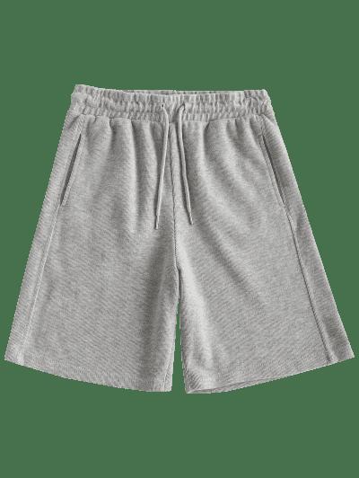 Drawstring Seam Pockets Ribbed Bermuda Shorts
