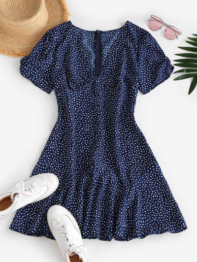 Ditsy Print Plunging A Line Tea Dress - Deep Blue Xl