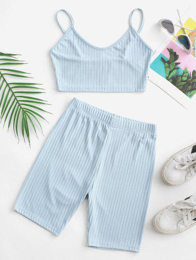 Two Piece Ribbed Cropped Biker Shorts Set - Light Blue S