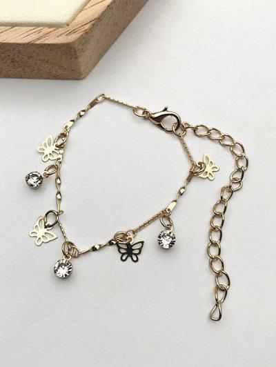 Hollow Butterfly Rhinestone Charm Bracelet - Golden