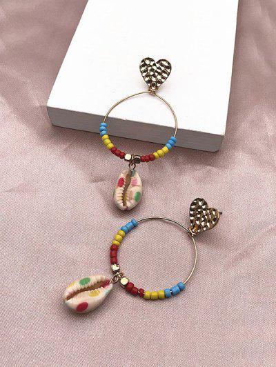 Pendientes De Perlas De Concha Círculo Corazón - Dorado