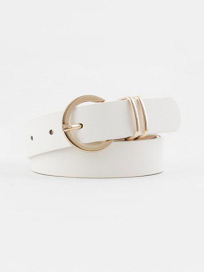 Decorative Round Pin Buckle Belt - White