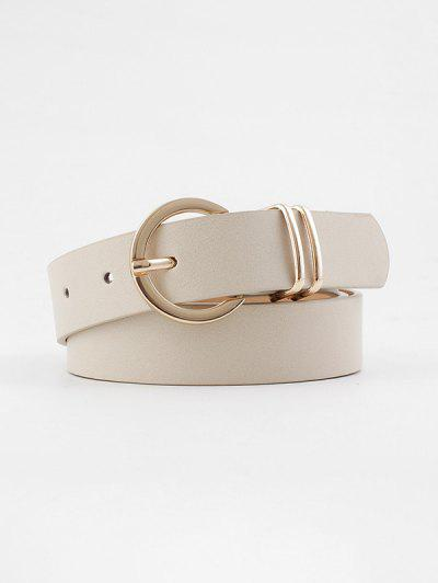 Decorative Round Pin Buckle Belt - Beige