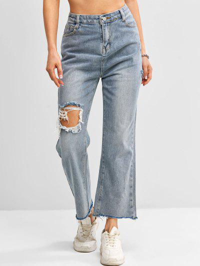 Distressed Frayed Hem High Waisted Straight Jeans - Blue M