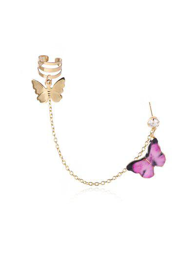 Colored Butterfly Pendant Chain Ear Cuff - Pink
